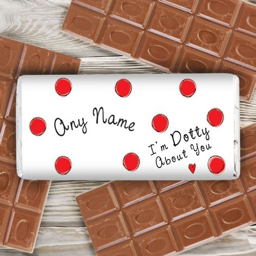 Personalised Dotty About You Chocolate Bar